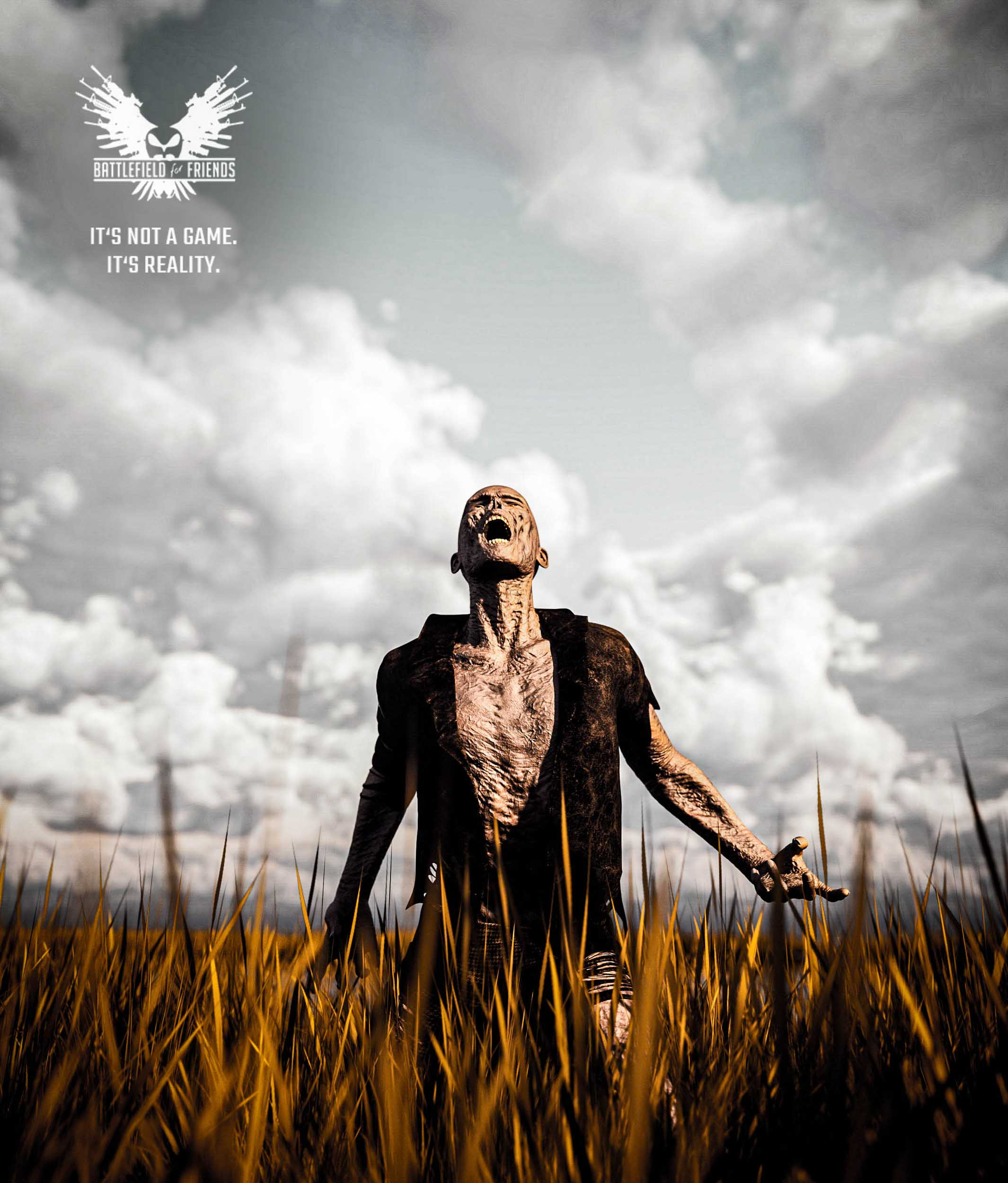 Scary Zombie in grass field,3d rendering