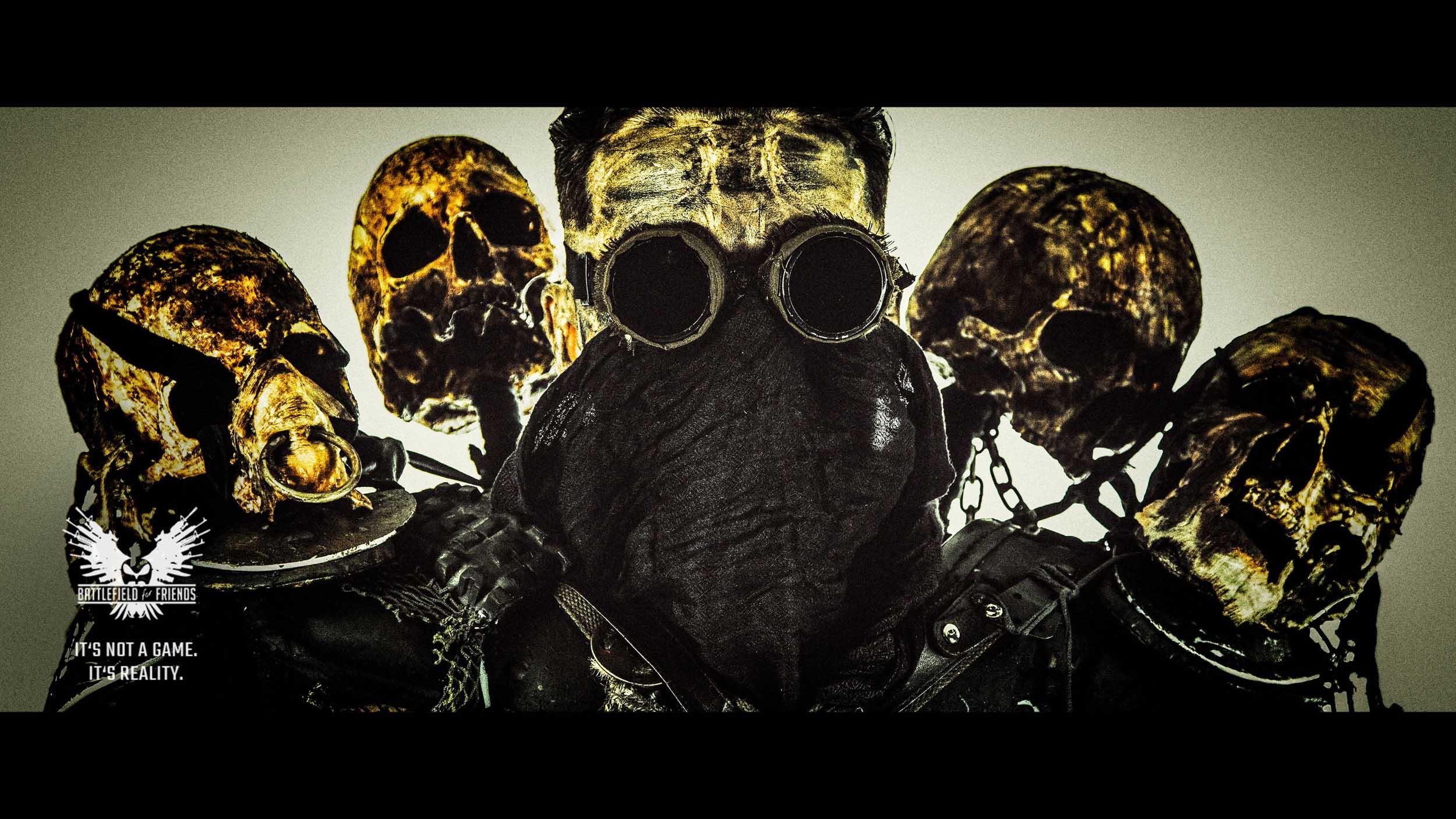 Post apocalyptic survivor with skulls