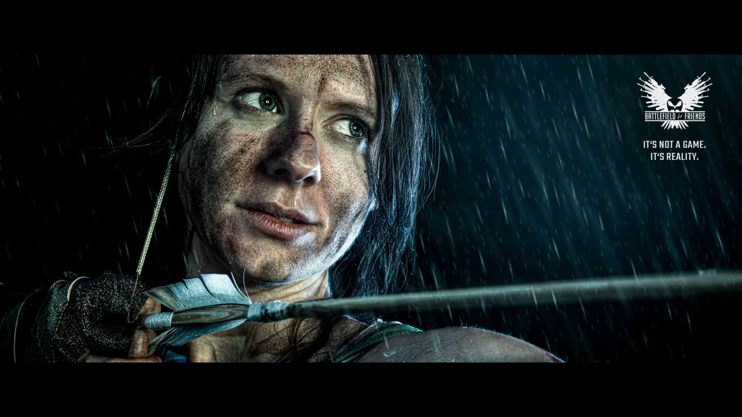 Tomb Raider. Portrait of woman, Lara Croft-like character.